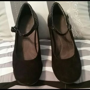 Shoes - Black faux suede and patent Mary Janes.